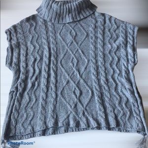 Sonoma Poncho Short Sleeve Gray Cowl Neck